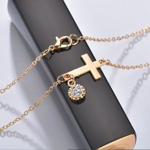 Jewelry - Gold Religious Cross Crystal Pendant Necklace